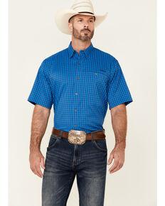 Ariat Men's VentTek Drift Small Plaid Short Sleeve Western Shirt - Tall , Blue, hi-res