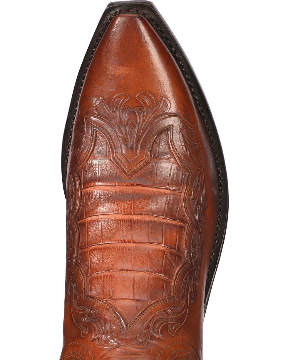 Lucchese Men's Handmade Bryson Peanut Caiman Inlay Western Boots - Snip Toe , Brown, hi-res
