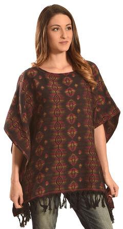 Ryan Michael Women's Sunburst Jacquard Poncho , Multi, hi-res