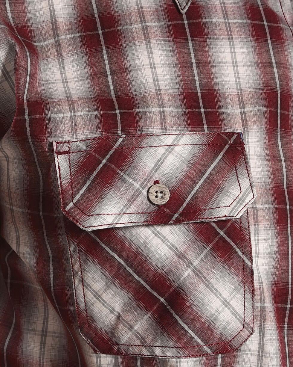 American Worker Men's Freyer Plaid Short Sleeve Work Shirt, Burgundy, hi-res