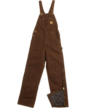 Carhartt Sandstone Duck Bib Work Overalls, Dark Brown, hi-res