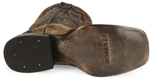 Stetson Men's Brown Tooled Wingtip Cowboy Boots - Wide Square Toe, Brown, hi-res