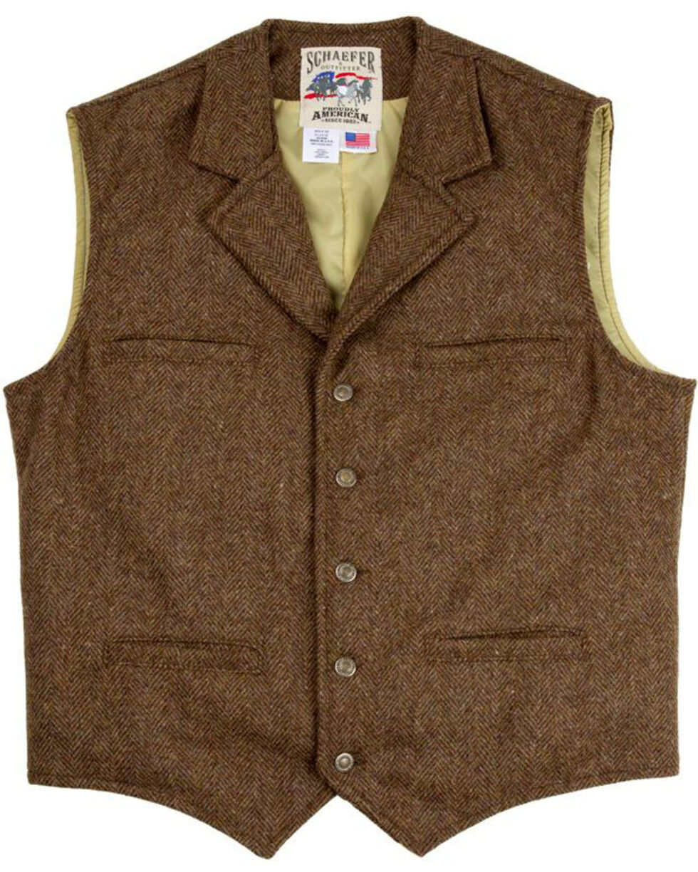 Schaefer Outfitter Men's 707 McClure Chocolate Herringbone Merino Wool Vest - Tall, Chocolate, hi-res