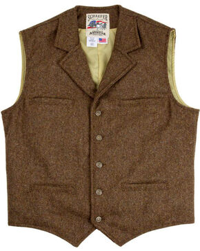 Schaefer Outfitter Men's 707 McClure Chocolate Herringbone Merino Wool Vest, Chocolate, hi-res