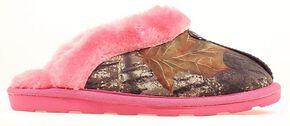 Women's Camouflage & Pink Fleece Slippers, Camouflage, hi-res