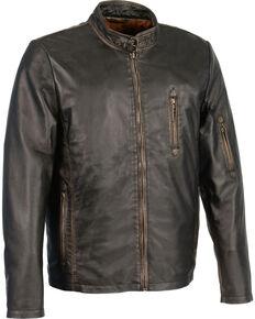 Milwaukee Leather Men's Brown Sheepskin Moto Racer Jacket - Big 3X, Black, hi-res