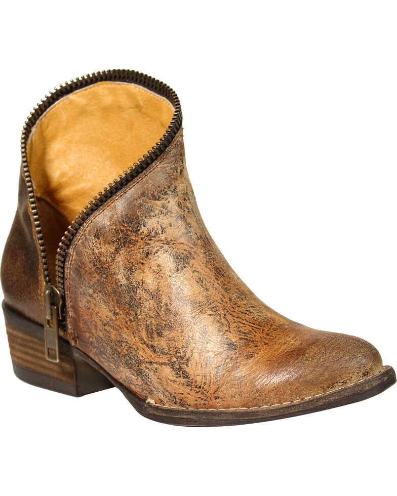 Corral Women's Distressed Zipper Ankle Boots - Round Toe , Tan, hi-res
