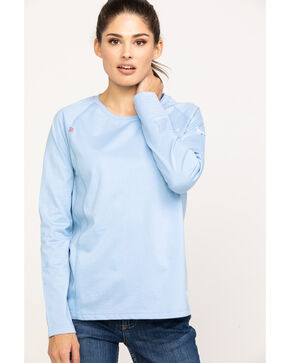 Ariat Women's Cerulean Sea FR Air Crew Long Sleeve Work Shirt, Blue, hi-res