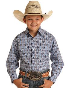 Panhandle Boys' Blue Wallpaper Print Long Sleeve Snap Western Shirt , Blue, hi-res