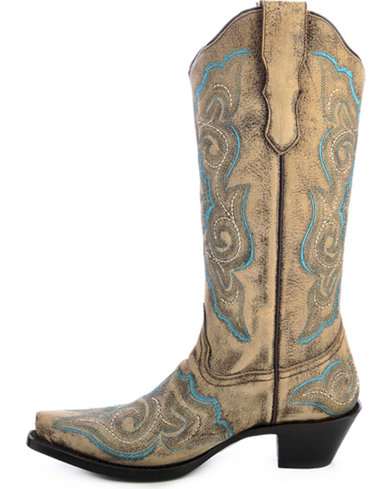 Corral Women's Embroidered Distressed Cowgirl Boots - Snip Toe, Distressed, hi-res