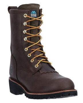 "McRae Men's 8"" Logger Boots - Round Toe, Brown, hi-res"