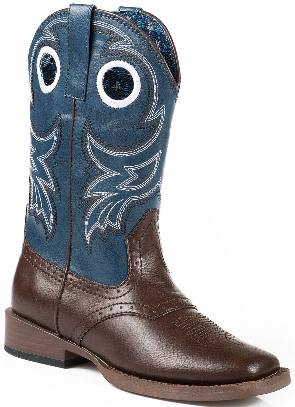 Roper Boys' Blue and Brown Faux Leather Cowboy Boots - Square Toe , Brown, hi-res