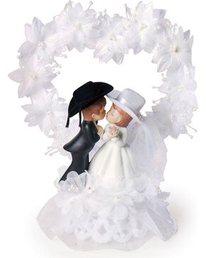 Western Wedding Cake Topper, White, hi-res