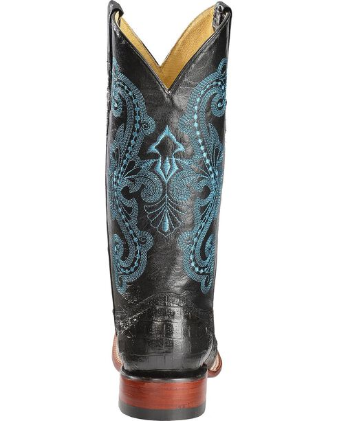 Ferrini Sparkly Cross Inlay Caiman Print Cowgirl Boots - Wide Square Toe, Black, hi-res