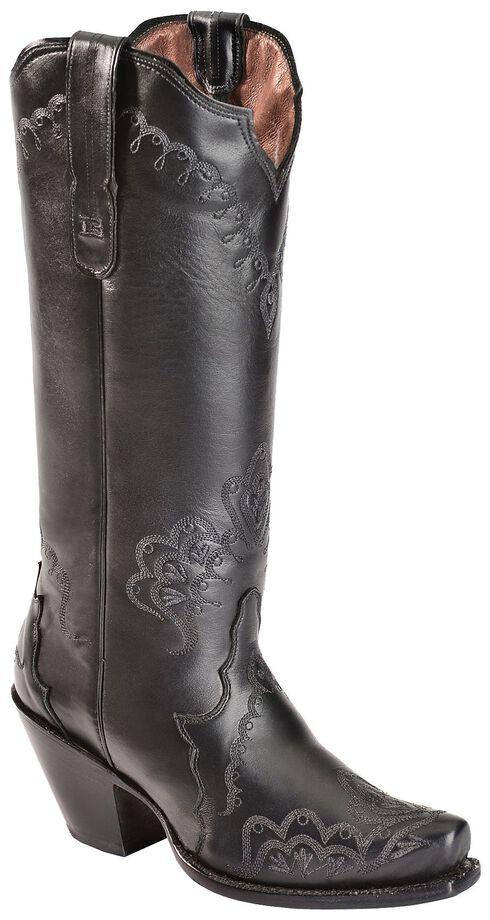Tony Lama Black Label Tall Cowgirl Boots - Snip Toe, Black, hi-res