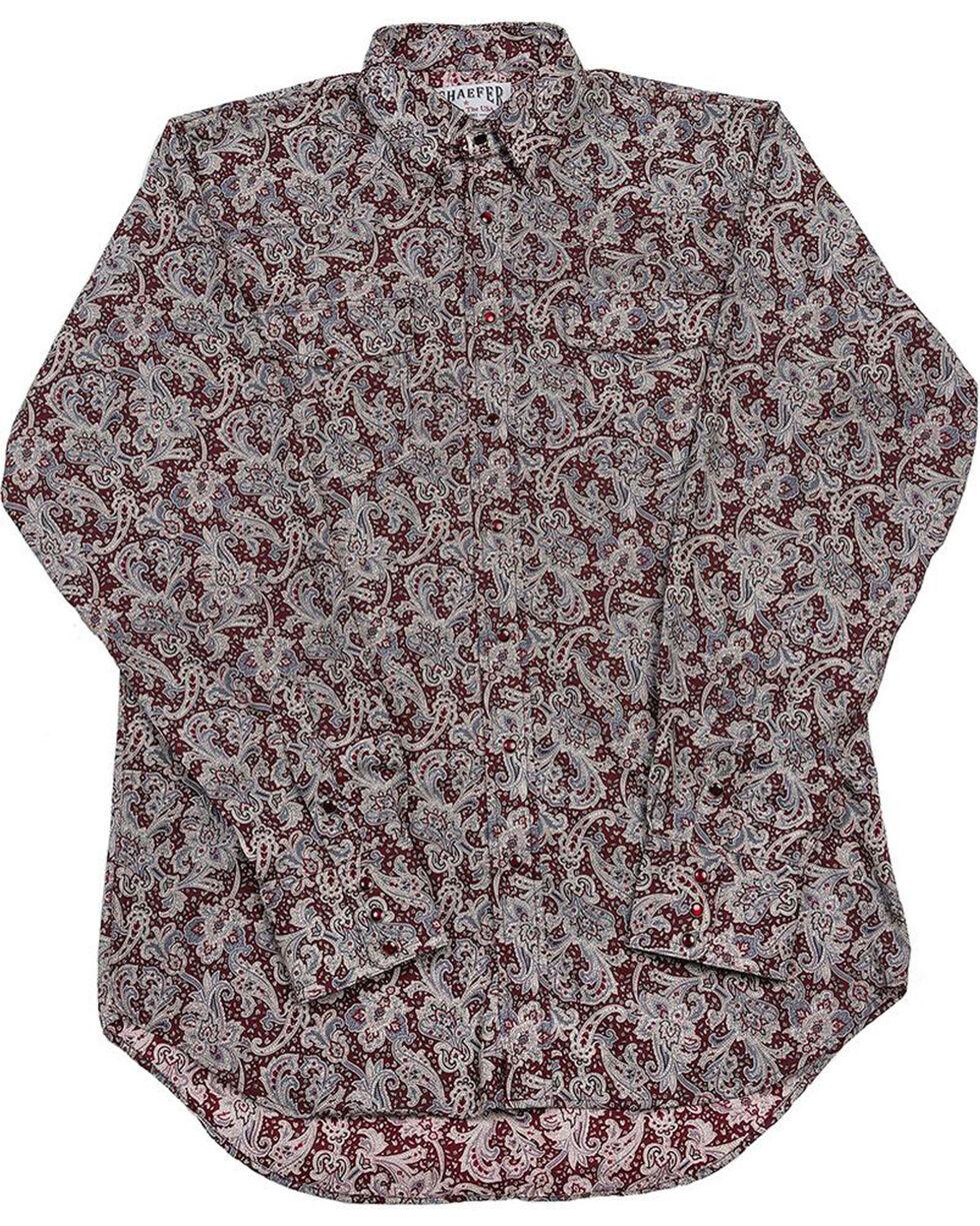 Schaefer Outfitter Men's Burgundy Frontier Paisley Western Snap Shirt, Burgundy, hi-res