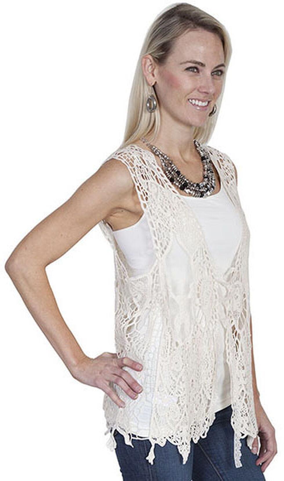 Scully Honey Creek Lace-Up Front Crochet Vest, Ivory, hi-res