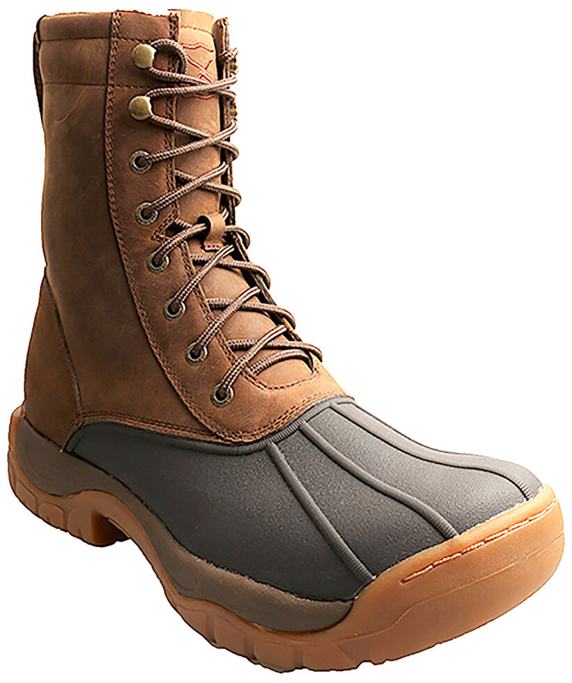 """Twisted X Men's 8"""" Lace-Up Brown Rubber Boots - Round Toe, Brown, hi-res"""
