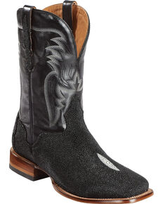 El Dorado Men's Handmade Stingray Stockman Boots - Square Toe, Black, hi-res