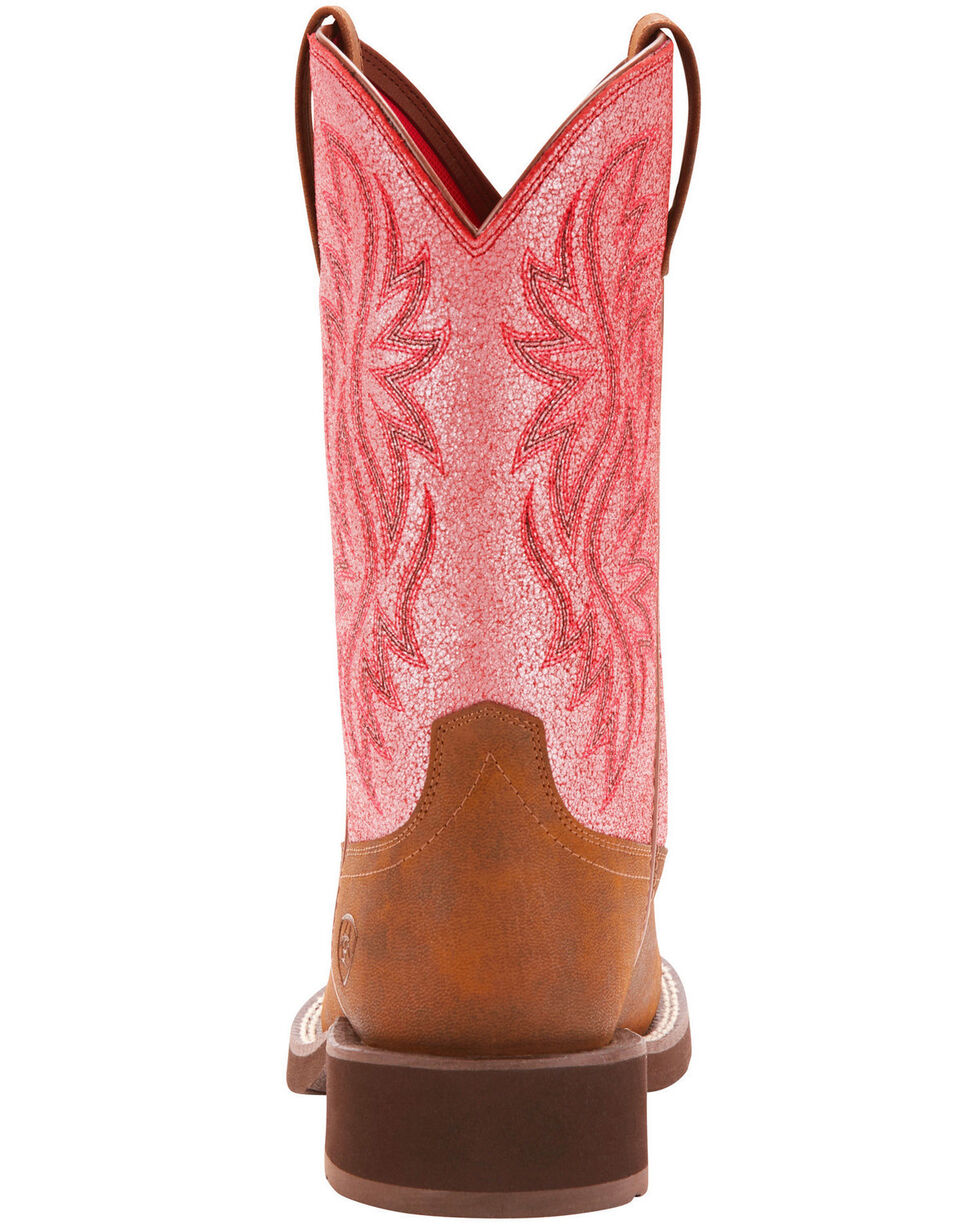Ariat Fatbaby Women's Heritage Tall Bright Pink Crackle Cowgirl Boots - Round Toe, Brown, hi-res