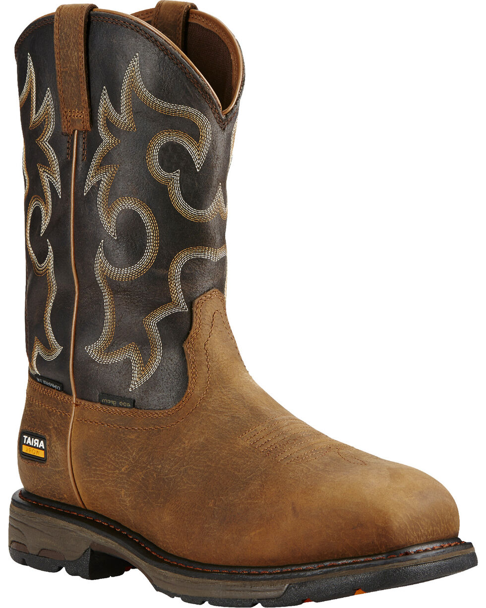Ariat Workhog H2O 400g Cowboy Work Boots - Composite Toe  , Brown, hi-res