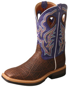 Twisted X Men's Lite Cowboy Elephant Print Western Work Boots - Wide Square Toe, Multi, hi-res