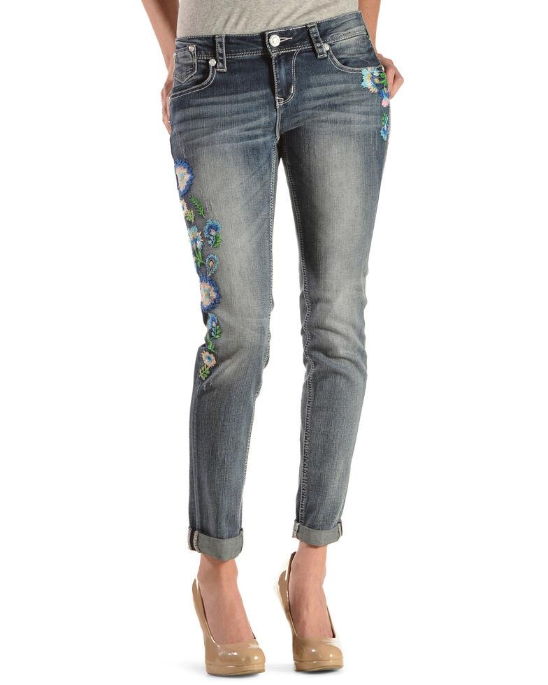 Grace in LA Women's Floral Embroidered Skinny Jeans , Denim, hi-res