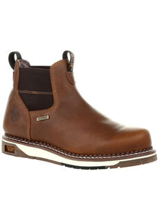 Georgia Boot Men's Waterproof Chelsea Work Boots - Steel Toe, Brown, hi-res