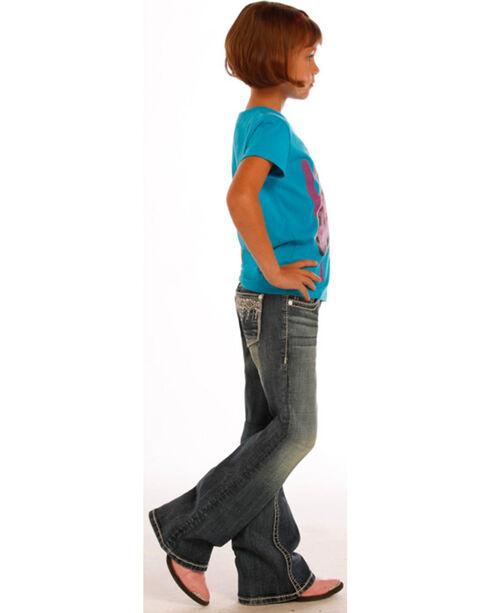 Rock & Roll Cowgirl Girls' Aztec Diamond Pocket Jeans - Boot Cut , Indigo, hi-res