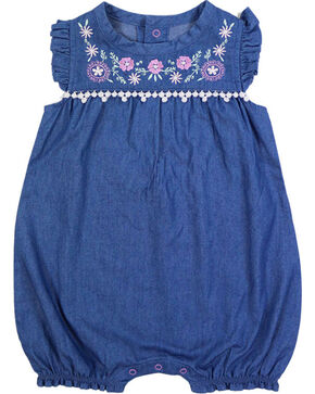 Shyanne Infant Girls' Embroidered Denim Romper Onesie, Blue, hi-res