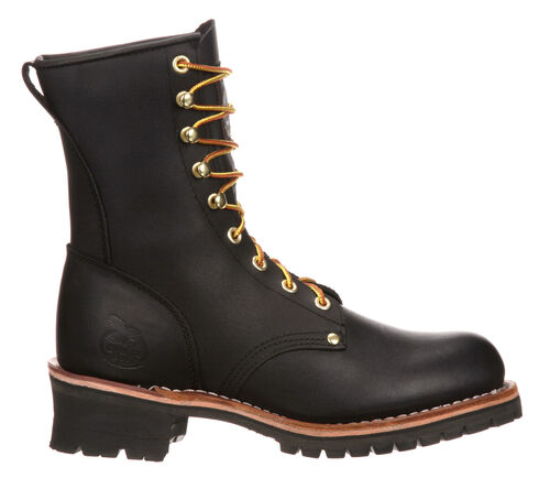 Georgia Logger Work Boots - Steel Toe, Black, hi-res