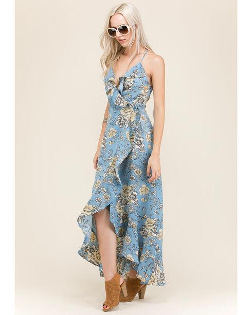 Polagram Women's Floral Wraparound Dress, Blue, hi-res