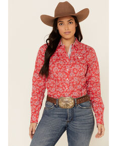 Cinch Women's Red Floral Print Long Sleeve Western Core Shirt , Red, hi-res