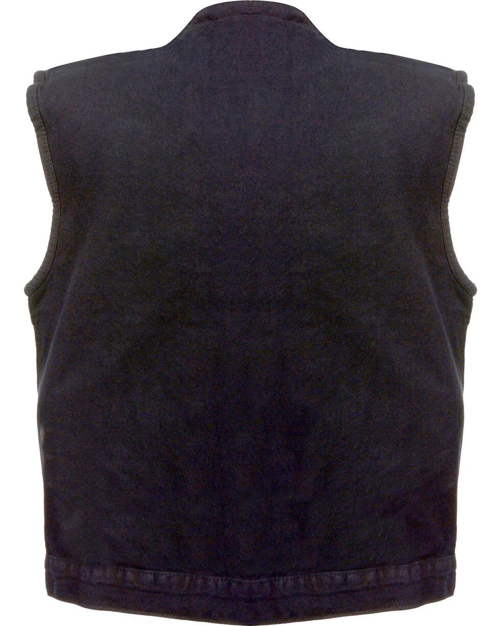 Milwaukee Leather Men's Concealed Snap Denim Club Vest, Black, hi-res