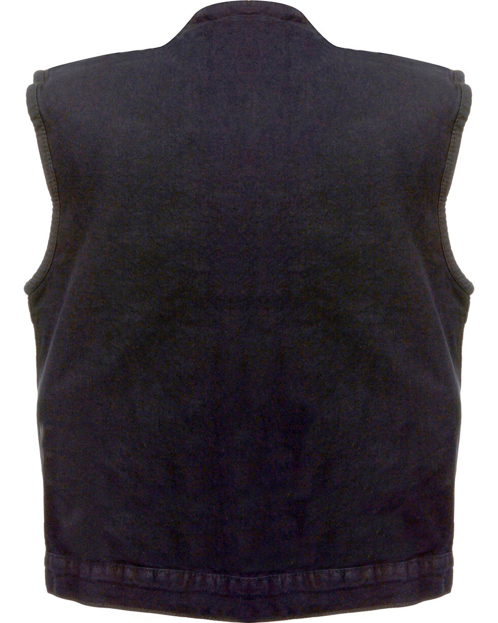 Milwaukee Leather Men's Concealed Snap Denim Club Vest - 3X, , hi-res