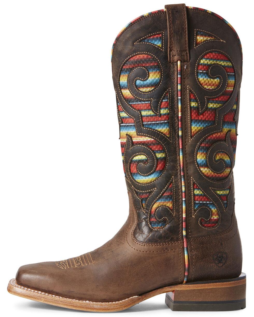 Ariat Women's VentTEK Baja Weathered Russet Western Boots - Wide Square Toe, Brown, hi-res