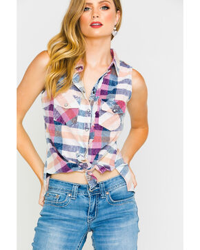 Shyanne Women's Plaid Mineral Wash Sleeveless Shirt, Multi, hi-res