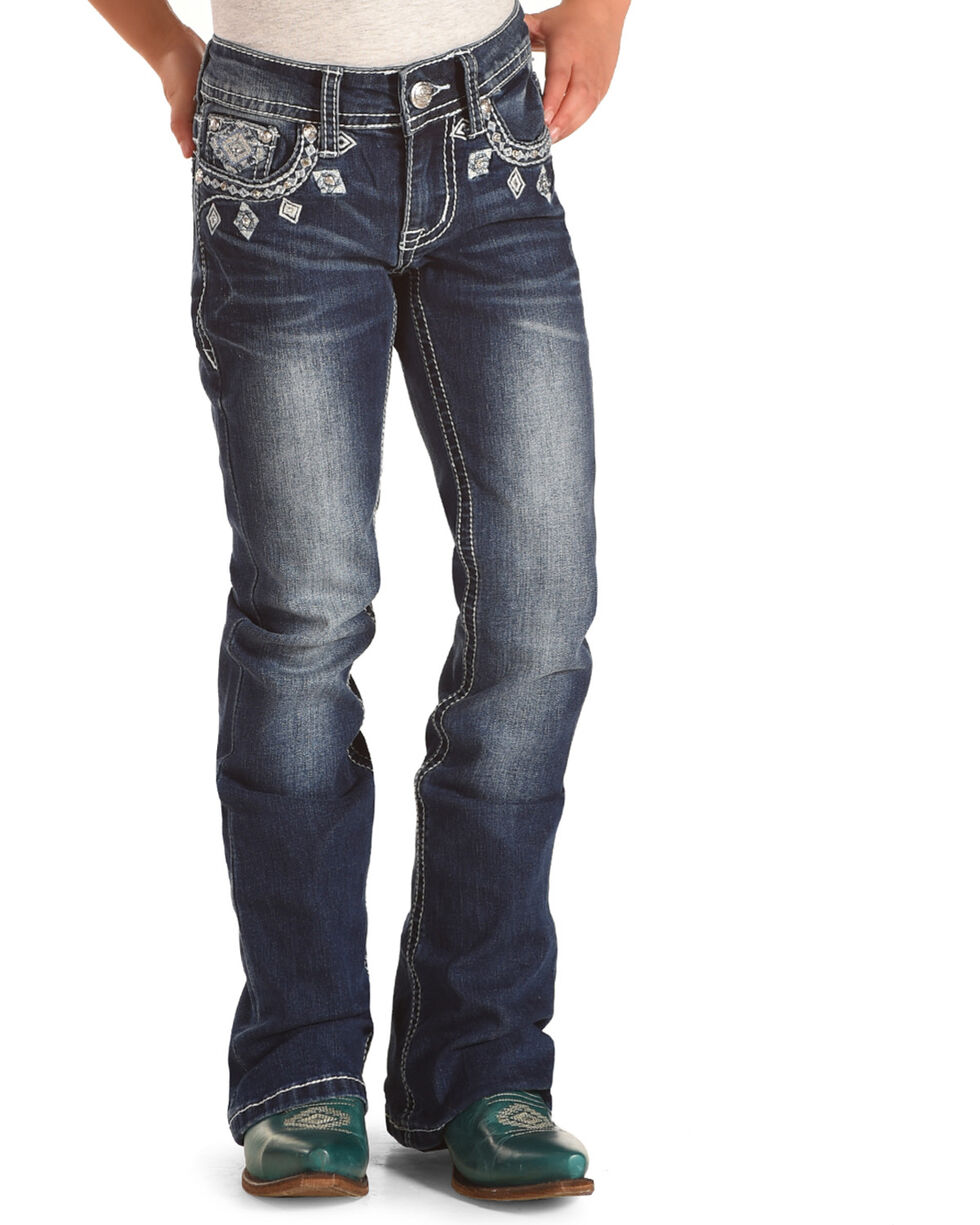Grace in LA Girls' Blue Diamond Embroidered Jeans - Boot Cut , Blue, hi-res