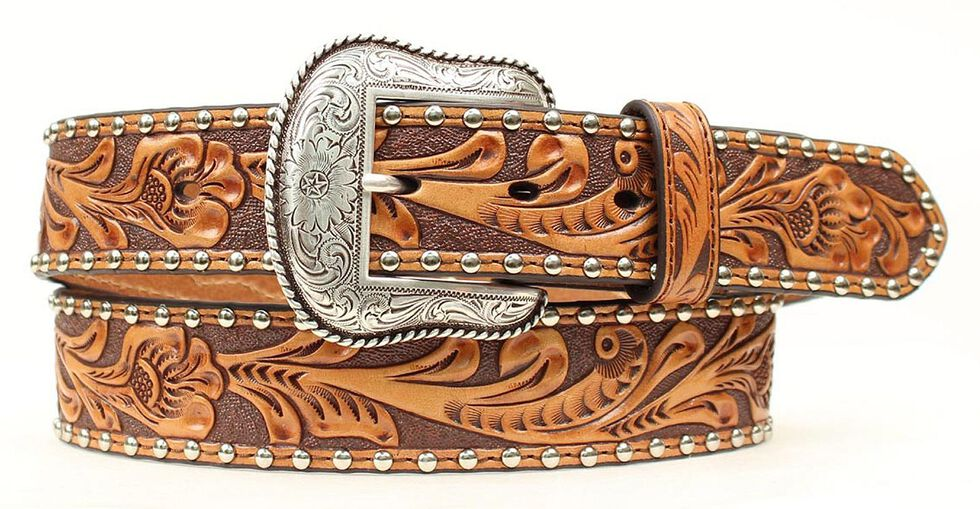 Nocona Tooled Hair-on-Hide Inlay Concho Belt, Natural, hi-res