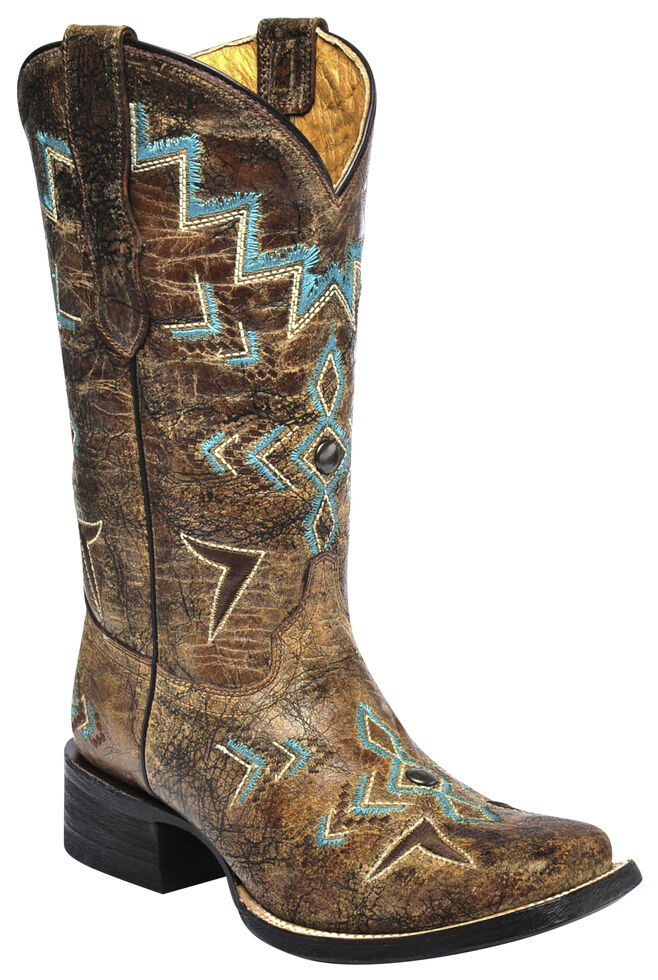 Corral Girls Studded Embroidered Cowgirl Boots - Square Toe, , hi-res