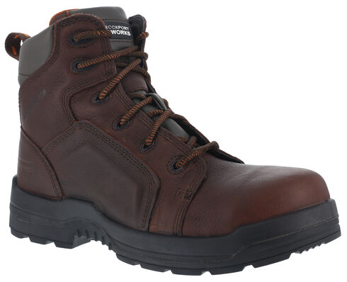 """Rockport Men's More Energy Brown 6"""" Lace-Up Work Boots - Composition Toe, Brown, hi-res"""
