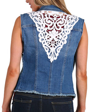 Petrol Women's Lace Denim Vest, Blue, hi-res