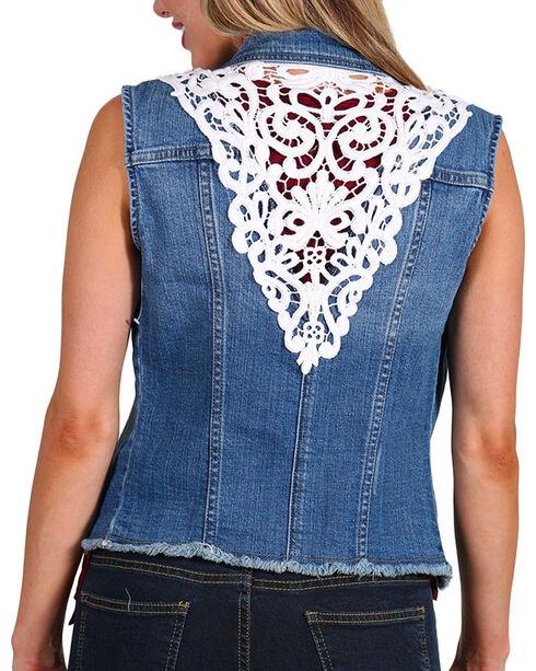 Petrol Women's Lace Denim Vest, Blue, hi-res