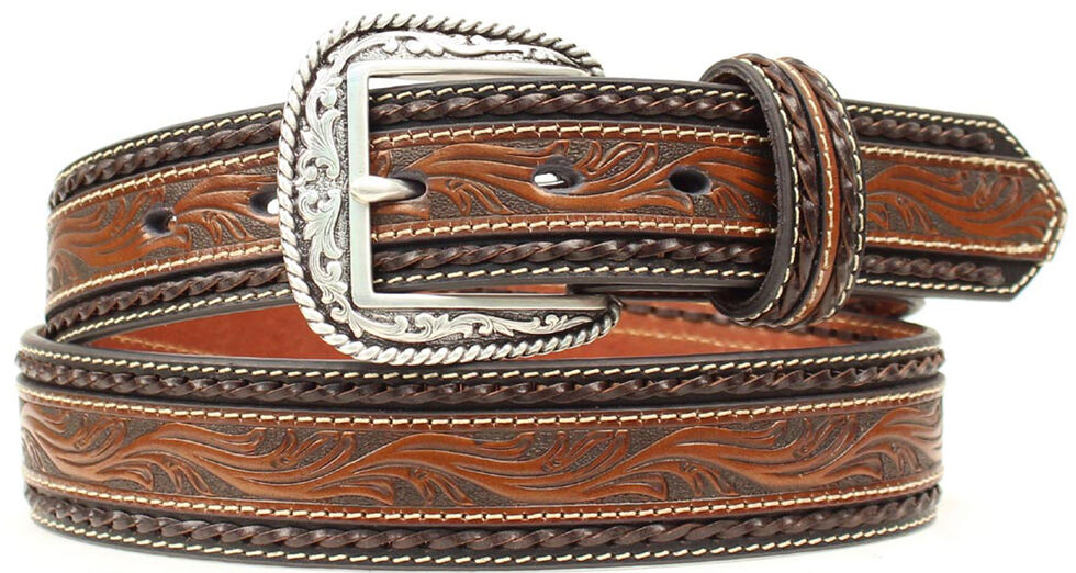 Ariat Embossed Overlay Brown Belt, Brown, hi-res