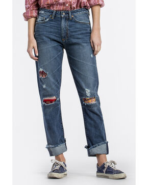 MM Vintage Women's Indigo Patched Crop Boyfriend Jeans - Straight Leg , Indigo, hi-res