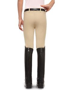 Ariat Girls' Heritage Knee Patch Front Zip Breeches, Tan, hi-res