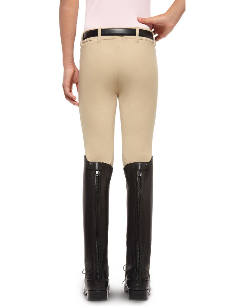 Ariat Girls' Heritage Knee Patch Front Zip Breeches, Tan, hi-res