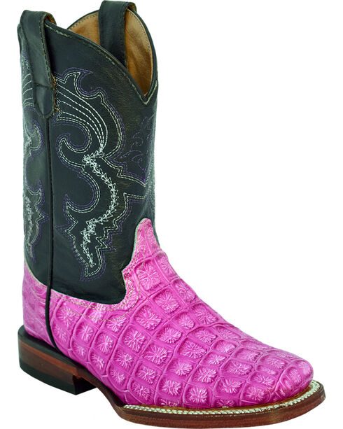 Ferrini Girls' Croc Print Western Boots - Square Toe, Fuscia, hi-res