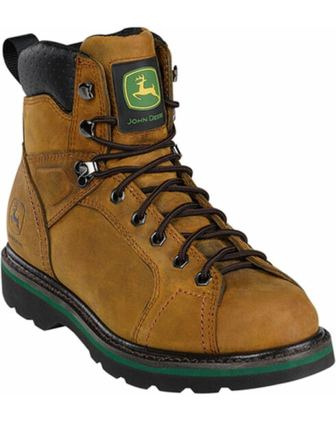 John Deere Men's Leather Lace-Up Work Boots, Crazyhorse, hi-res