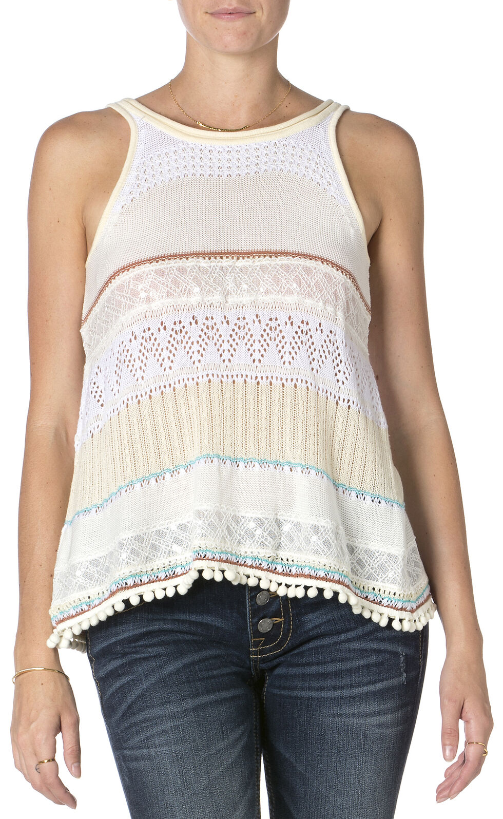Miss Me Pom Pom Tank Top , Off White, hi-res